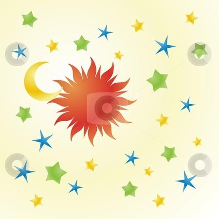 Fully editable vector illustration of sun, moon and stars stock vector clipart, Fully editable vector illustration of sun, moon and stars ready to use by pilgrim.artworks