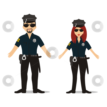 Fully editable cops police officers stock vector clipart, Fully editable isolated people with different occupations by pilgrim.artworks