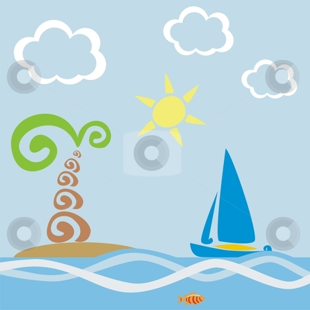 Vector illustration of stylized sailing boat and palm tree on island stock vector clipart, Vector illustration of stylized sailing boat and palm tree on island by pilgrim.artworks