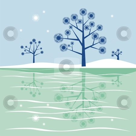 Fully editable blue trees reflecting in frozen lake stock vector clipart, Fully editable vector illustration - blue trees reflecting in frozen lake with details ready to use by pilgrim.artworks