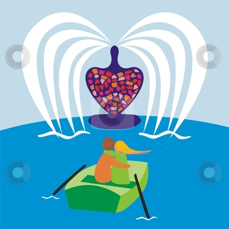 Vector illustration of romantic young couple in a boat  stock vector clipart, Vector illustration of romantic young couple in a boat by pilgrim.artworks