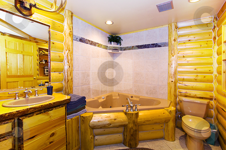 Close up on a Bathroom in a Cabin stock photo, Close up on a Bathroom in a Log Cabin by Mehmet Dilsiz