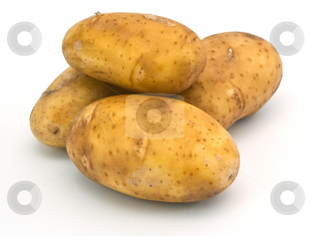 Potatoes stock photo, Isolated four yellow potatoes on white background by Dmitry Mirlin