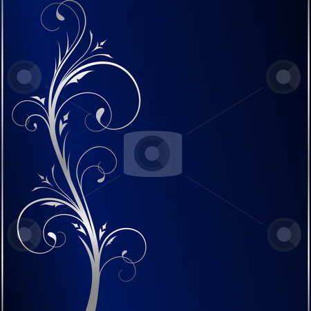 Elegant dark blue background with silver floral elements stock vector clipart, Dark blue square background with silver scrolls on the left hand side. Use of 6 global colors, linear gradients, blend. by Ina Wendrock