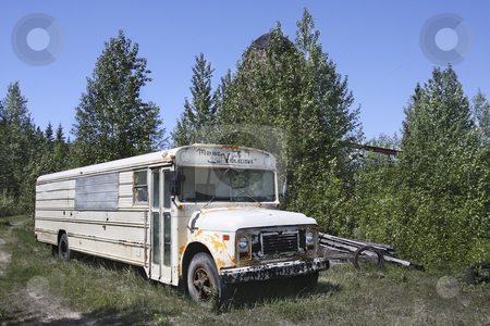 Retired School Bus stock photo, Abandoned Old school bus by Sharron Schiefelbein