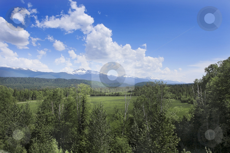 Cloudscape with grassland, trees, and mountains stock photo, Cloudscape with grassland, trees, and mountains by Sharron Schiefelbein