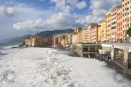 Camogli, church and seaside stock photo, Seaside and church in Camogli, italy during a sea storm by ANTONIO SCARPI