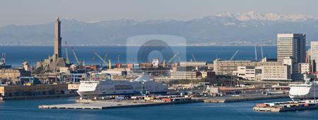 Port of Genova stock photo, Panorama of port of Genoa with the lanterna, the lighthouse that is  the symbol of the town by ANTONIO SCARPI