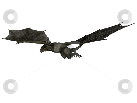 Flying wyvern stock photo, 3D rendered fantasy wyvern on white background isolated. by Patrik Ruzic
