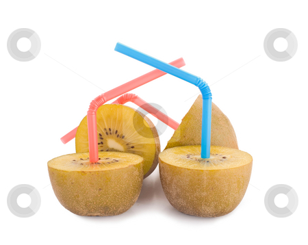 100 percent pure kiwi juice, concept stock photo, 100 percent pure kiwi juice, color Straw on kiwi, concept of kiwi juice by Lawren