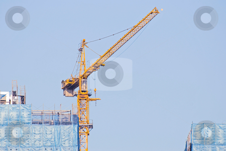 Hoist and under construction Buildings stock photo, Hoist and under construction Buildings by Lawren