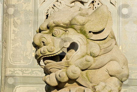 Traditional Chinese stone lion stock photo, Traditional Chinese stone lion, It? by Lawren