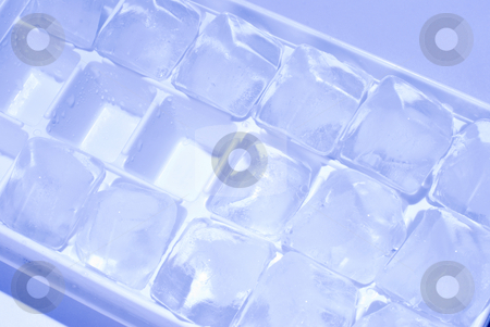 Ice cube stack stock photo, Ice cube stack in blue background by Lawren