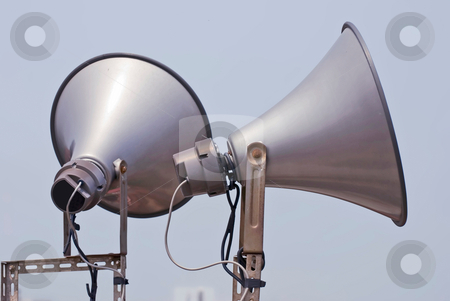 Megaphone speak to sky stock photo, Two megaphone speak to sky by Lawren