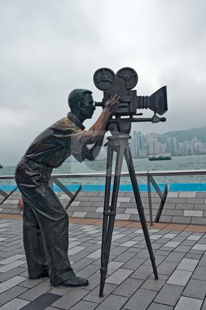 Cameraman statue stock photo, Cameramen statue in Avenue of Stars  Hong Kong, Kawloon by Marek Poplawski