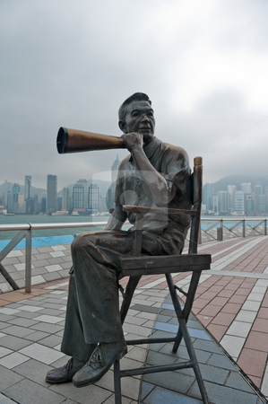 Director Statue stock photo, Movie director bronze statue in Avenue of Stars in Hong Kong Kawloon China by Marek Poplawski