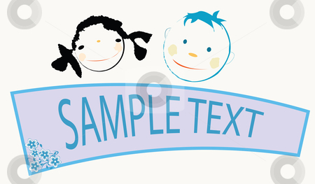 Kids faces stock vector clipart, Smiling kids with banner by Richard Laschon