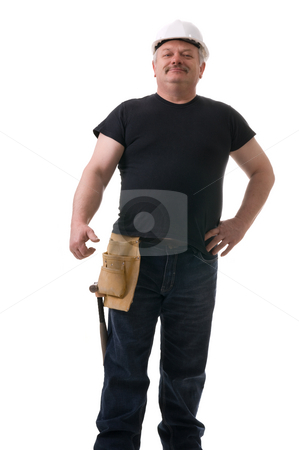 Contractor stock photo, Secure and motivated  tradesman, portrait on white background by Marek Poplawski
