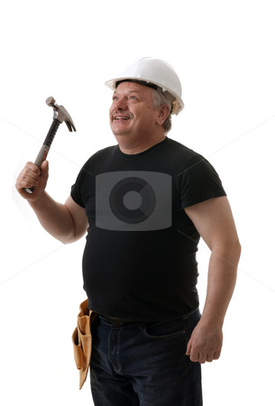 Contractor stock photo, Tradesman holding the hammer portrait on white background by Marek Poplawski