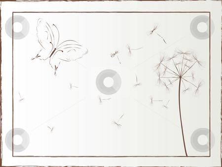 Dandelion design stock photo, Dandelion and butterfly framed illustration, vector art by Richard Laschon