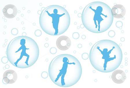 Bubble kids stock photo, Happy kids by Richard Laschon