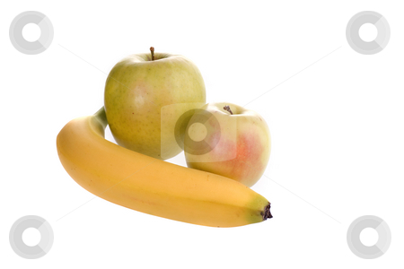 Healthy Food stock photo, Banana and apples picture on white backround by Marek Poplawski