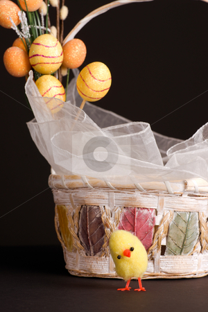 Chicken and Easter Basket stock photo, Easter backet and chicken with colored eggs by Marek Poplawski