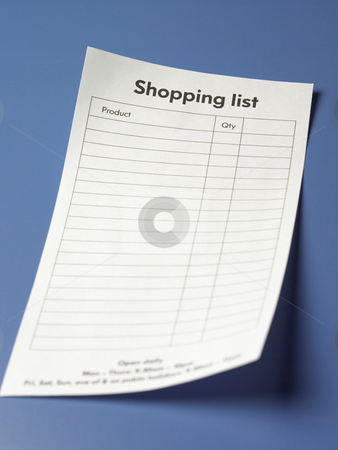 Shopping list stock photo, Close up shot of a piece of shopping list by eskaylim