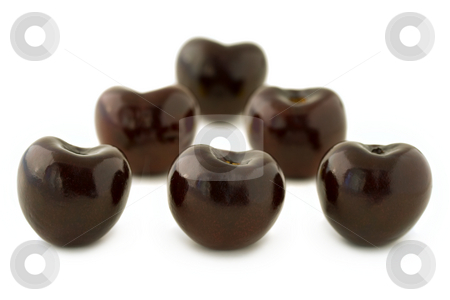Group of red cherries stock photo, Group of dark red cherries, without stalks, lined up. Isolated on white background, with shadow. by Natalia Banegas