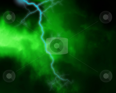 Lighting Strike In The Clouds stock photo, Lighting strike within some green clouds. by Chris Harvey
