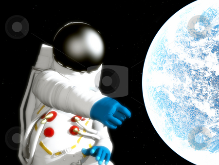 Spaceman With Alien Planet stock photo, A spaceman floating next to an alien world. by Chris Harvey