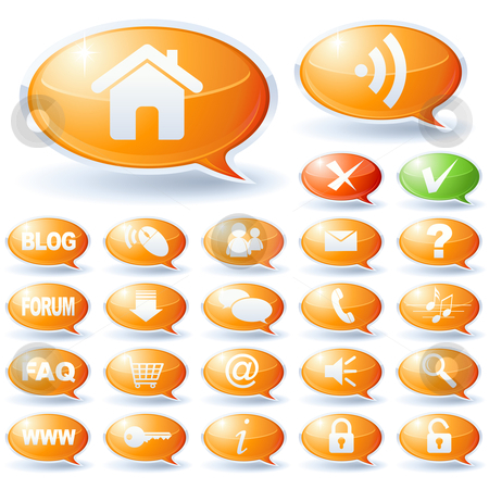 Internet speech bubbles collection stock vector clipart, Internet speech bubbles collection by Laurent Renault