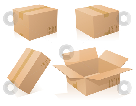 Cardboards stock vector clipart, Cardboards boxes closed and opened by Laurent Renault