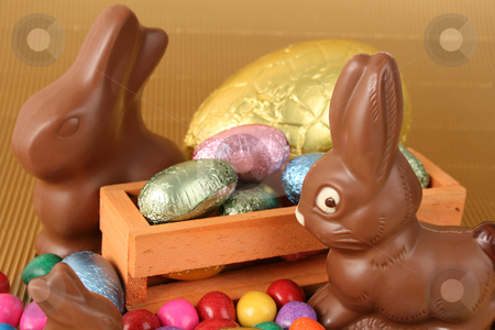 Easter Eggs stock photo, Various colors and shaped easter eggs and chocolate bunnies by Vanessa Van Rensburg