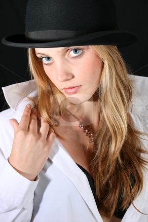 Female Model stock photo, Beautiful young female model with blue eyes by Vanessa Van Rensburg