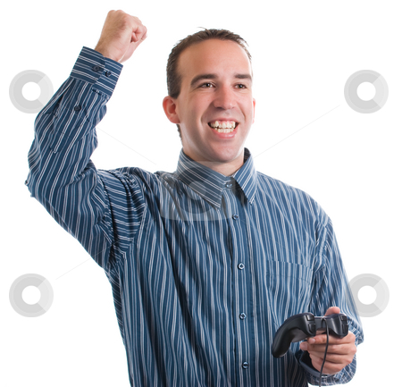 Video Game Winner stock photo, An adult winning at his video game that he was playing, isolated against a white background by Richard Nelson