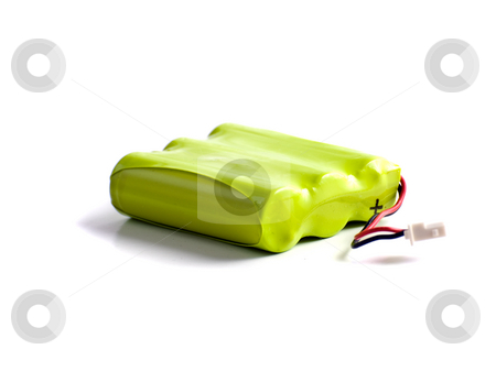 Phone Battery stock photo, A yellow phone battery shot against a white background by Richard Nelson