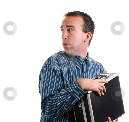 Privacy stock photo, A young adult is trying to protect his case of private documents, isolated against a white background by Richard Nelson