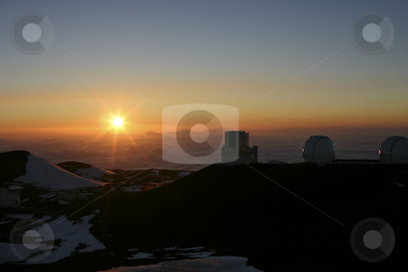 Observatory on Mauna Kea Hawaii stock photo, A beautiful sunset on top of Mauna Kea looking at the Observatories on the Big Island of Hawaii by Sharron Schiefelbein