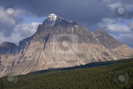View of Mountain Peak in Jasper National Park stock photo, View of Mountain Peak in Jasper National Park by Sharron Schiefelbein