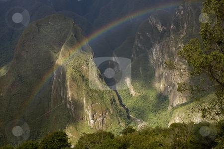 Rainbow over Machu Picchu Peru stock photo, A rainbow over Machu Picchu Valley in Peru, South America by Sharron Schiefelbein