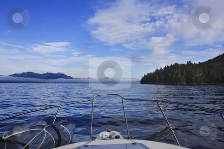 Low lying fog bank of coast of BC stock photo, Low lying fog bank of coast of BC by Sharron Schiefelbein