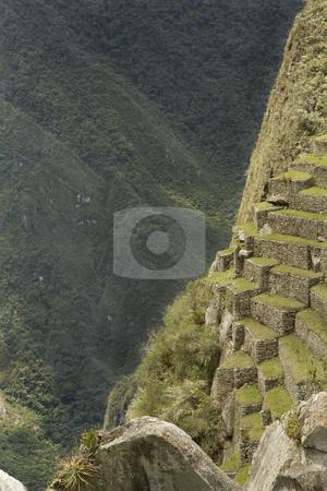 Steep view of Machu Picchu, Peru stock photo, A Steep view of Machu Picchu slopes that the Incas farmed in Peru, South America by Sharron Schiefelbein