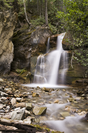 Silky Waterfall stock photo, A beautiful Waterfall surrounds by a forest by Sharron Schiefelbein