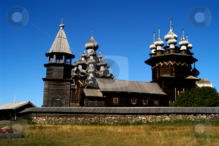 Transfiguration Church stock photo, Russia, Karelia Republic, Lake Onega, Kizhi Island, Kizhi Open Air Museum, (Lto R) Bell Tower, Transfiguration Church, Intercession Church by David Ryan