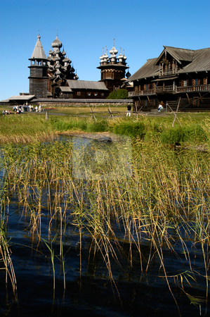 Kizhi stock photo, Russia, Karelia Republic, Lake Onega, Kizhi Island, Kizhi Open Air Museum, (L to R) Bell Tower, Transfiguration Church, Intercession Church, Typical dwelling for a large family. by David Ryan