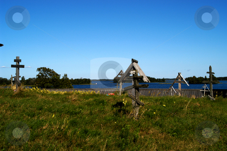 Kizhi Cemetery stock photo, Russia, Karelia Republic, Lake Onega, Kizhi Island, Kizhi Open Air Museum, Cemetery by David Ryan