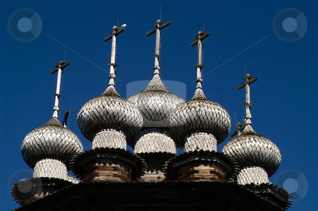 Intercession Church stock photo, Russia, Karelia Republic, Lake Onega, Kizhi Island, Kizhi Open Air Museum, Domes of the Intercession Church by David Ryan