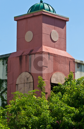 Tower stock photo, Urban architecture detail of a aged tower with trees by Jose Wilson Araujo