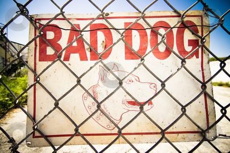 Dog Warning stock photo, Beware of the Dog Sign inside a fenced urban area by Jose Wilson Araujo